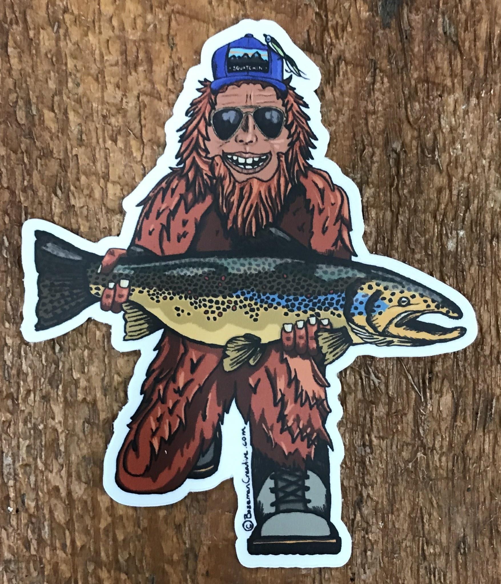 """Trout Huntin' Squatch Sticker 4.5"""""""