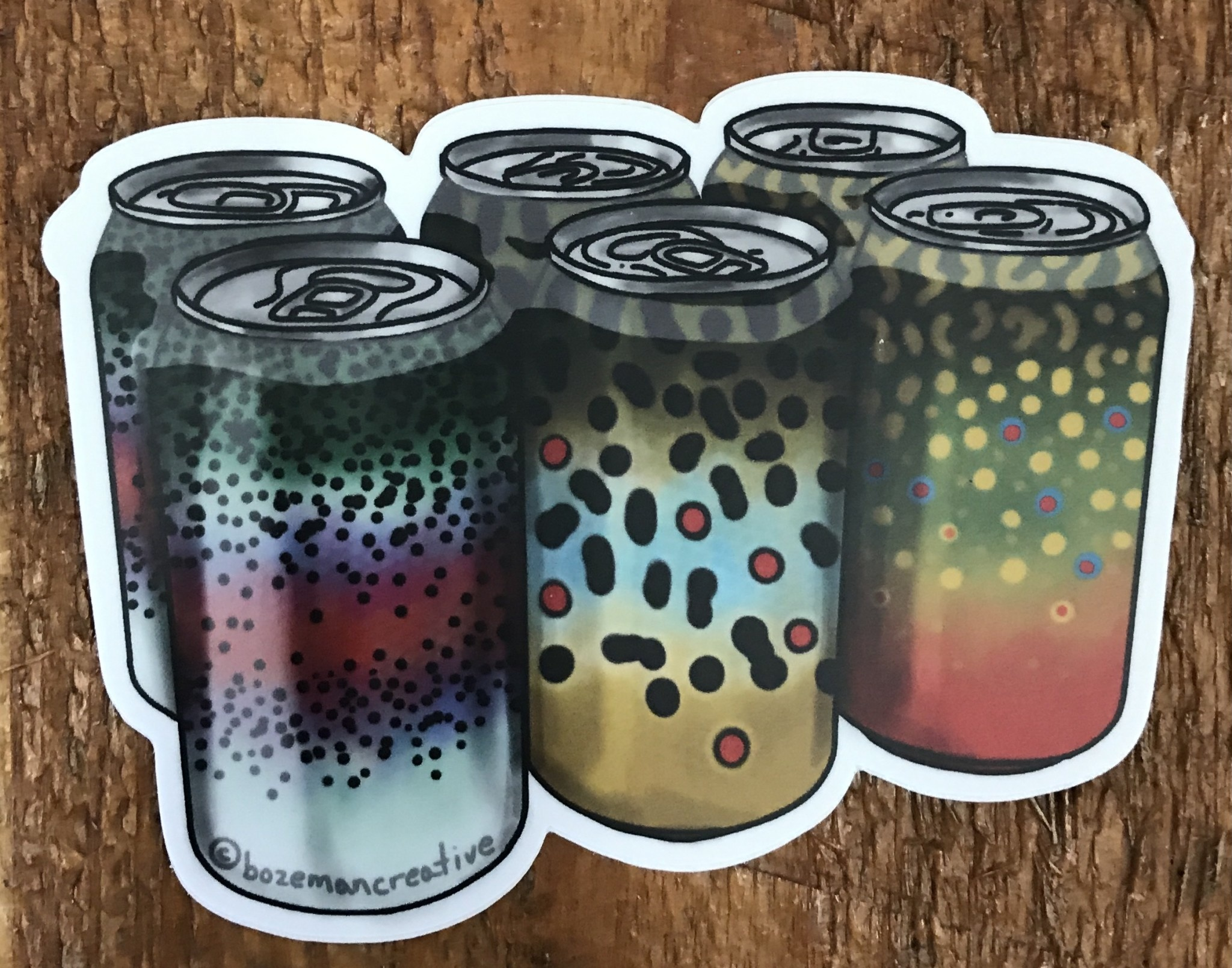 Trout Six Pack Sticker 4""