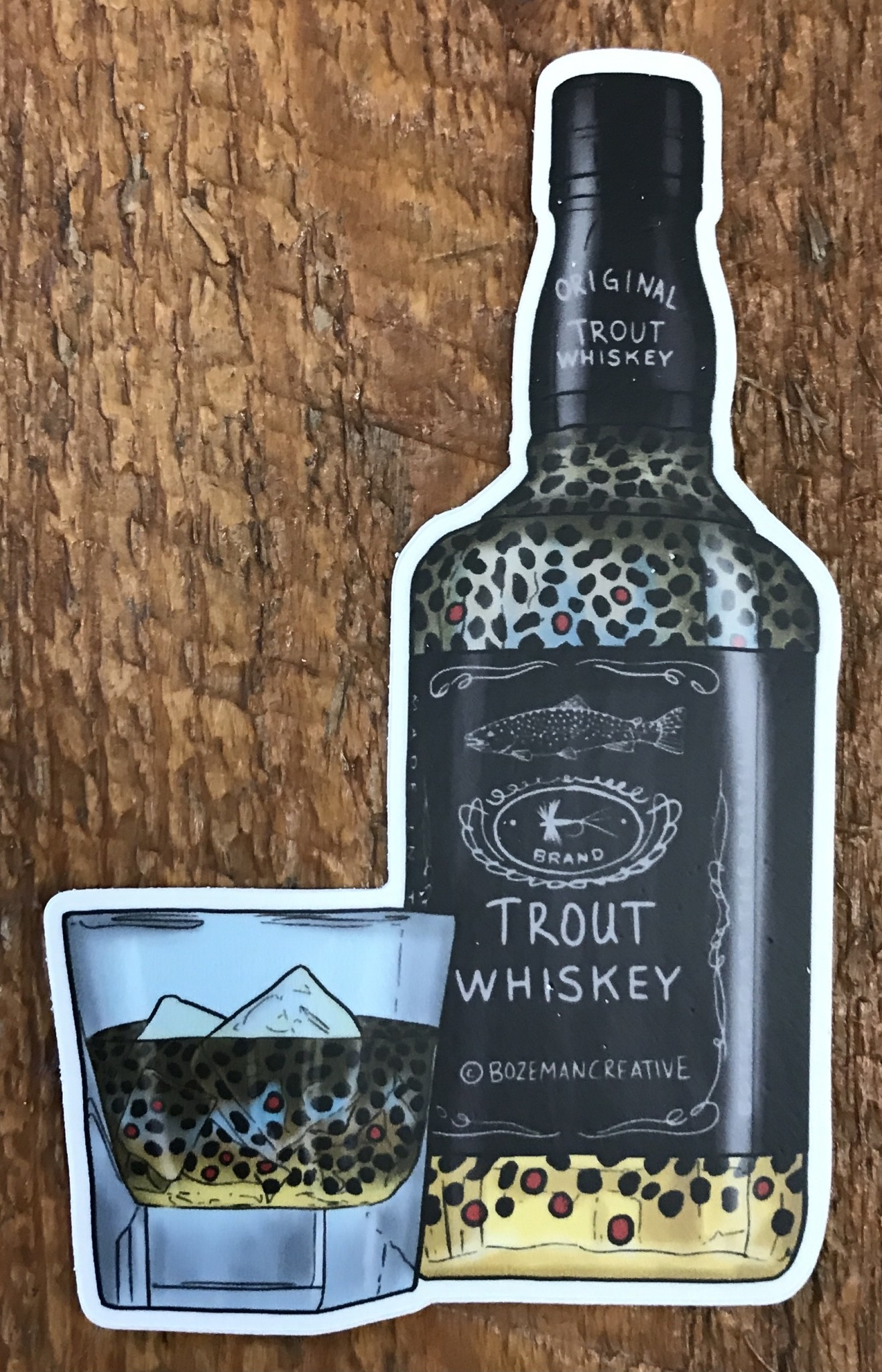 Brown Trout Whiskey Sticker 4.5""