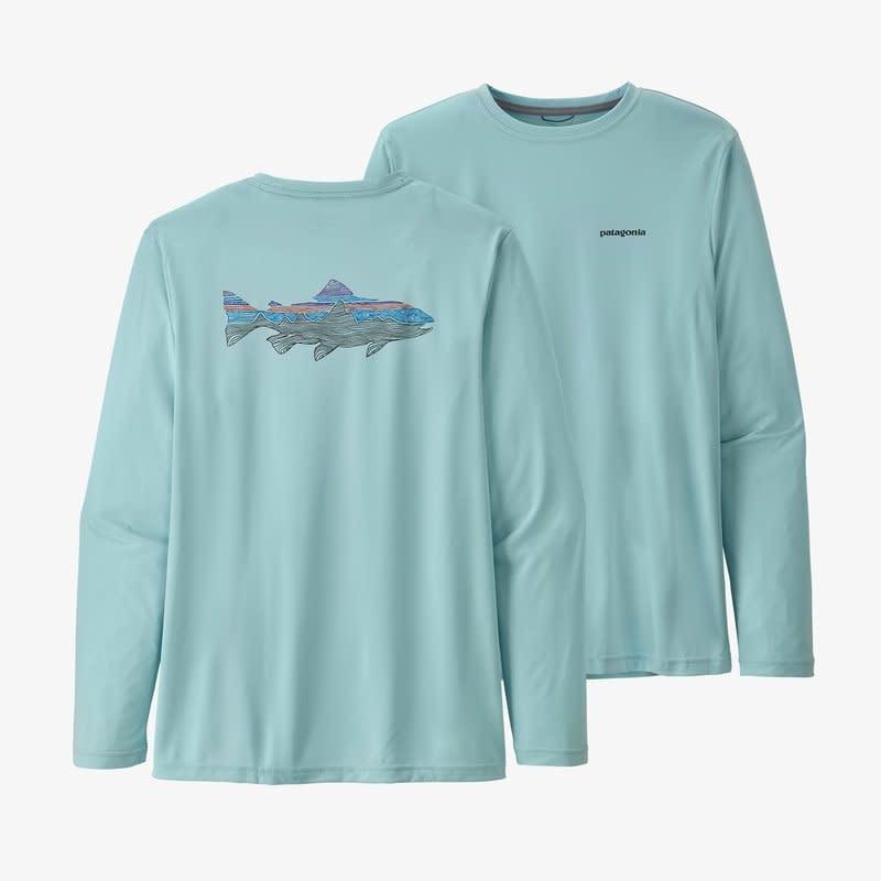 Patagonia Men's LS Cap Cool Daily Fish Graphic Shirt