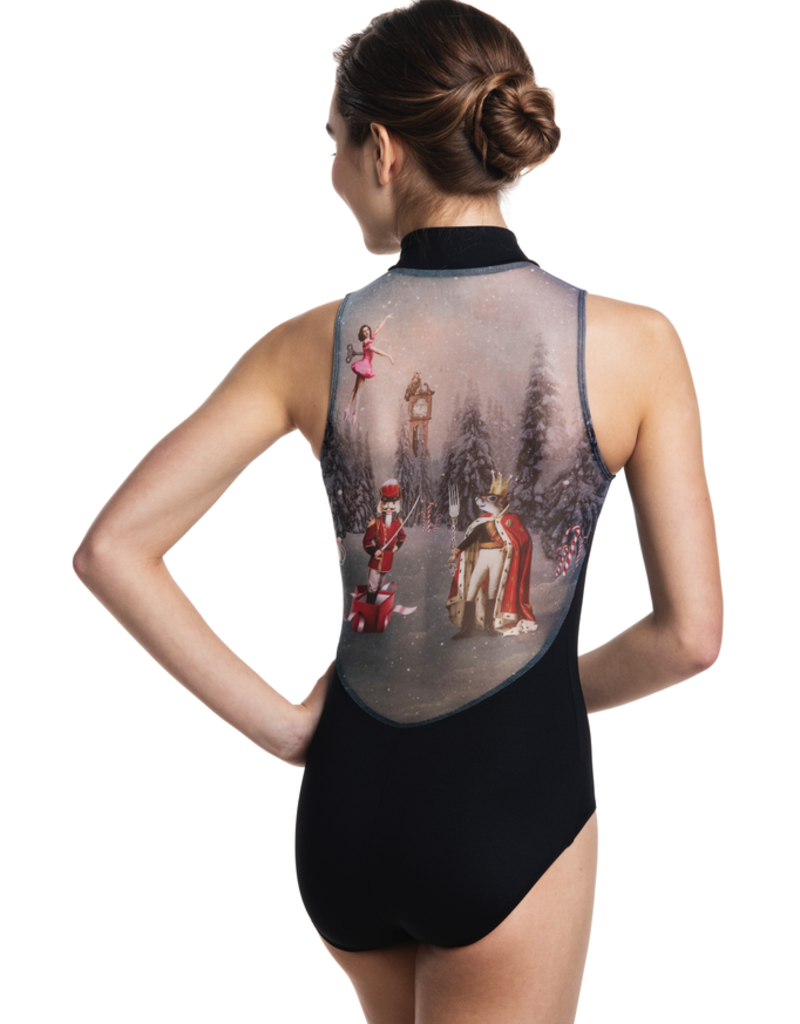 Ainslie Wear A-1062NU-Y Zip Front Leo with Nutcracker Print Youth
