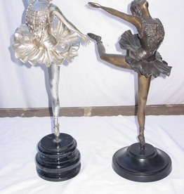 Sports 4 Girls Silver Statue with bronze base B105