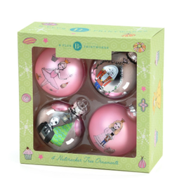 B Plus Set of 4 shatter proof Nutcracker Ornaments. Pink/ Silver