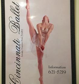 Vintage Cincinnati Ballet Huge Framed Train Station Adversiting Framed Poster Board C