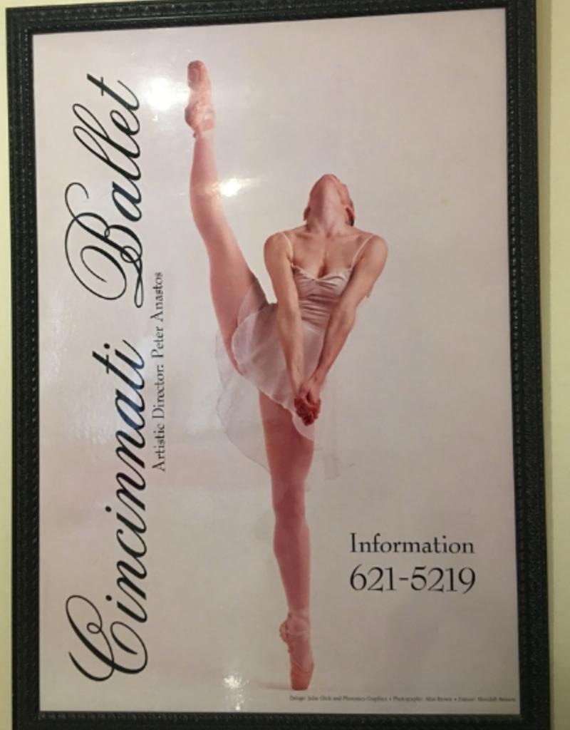 Sports 4 Girls Vintage Cincinnati Ballet Huge Framed Train Station Adversiting Framed Poster Board C