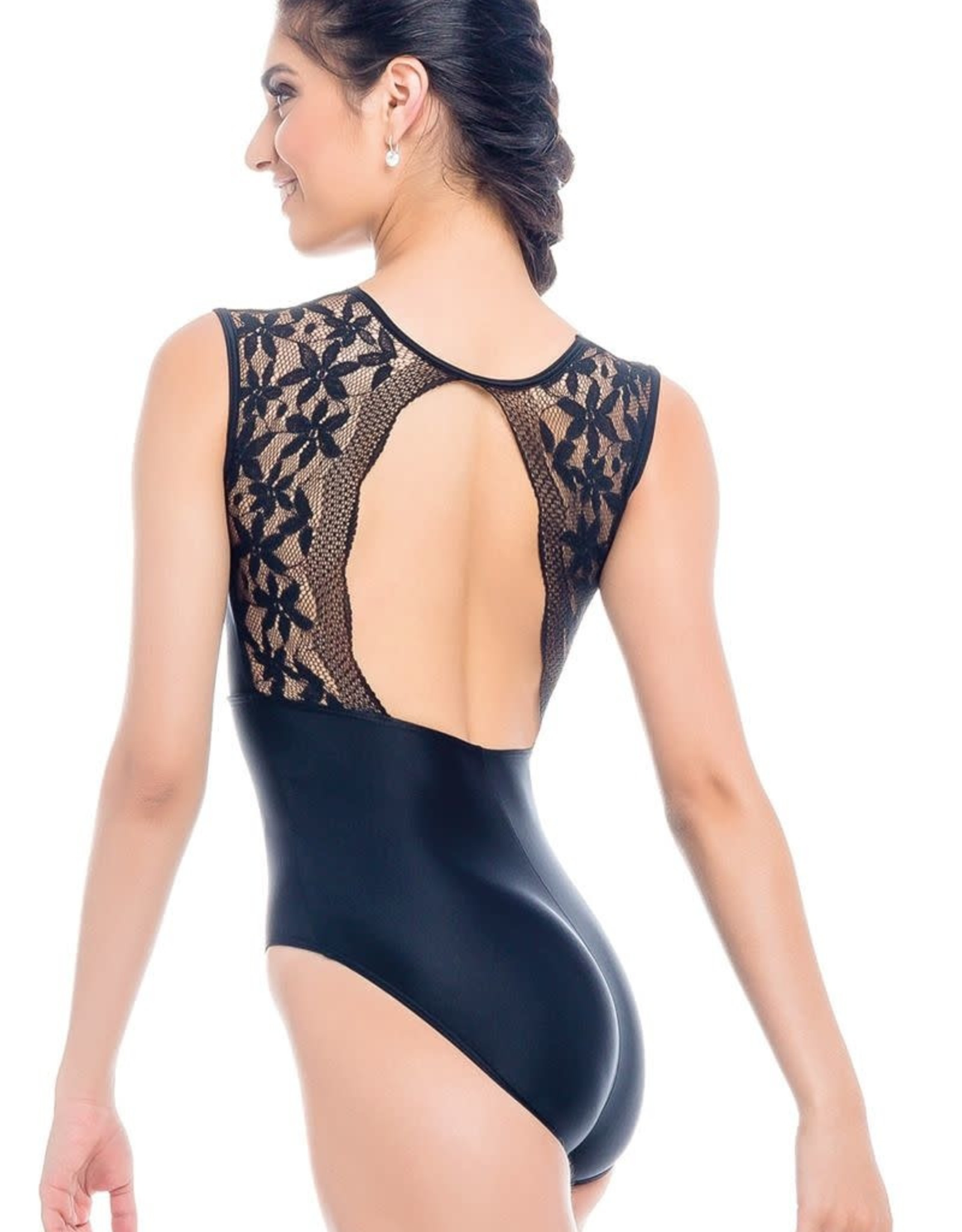 So Danca RDE-2023 Adult Tank Leotard with Open Back and Lace on Upper Bodice