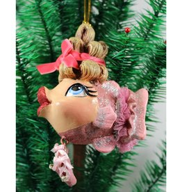 Ballerina Kissing Fish Ornament