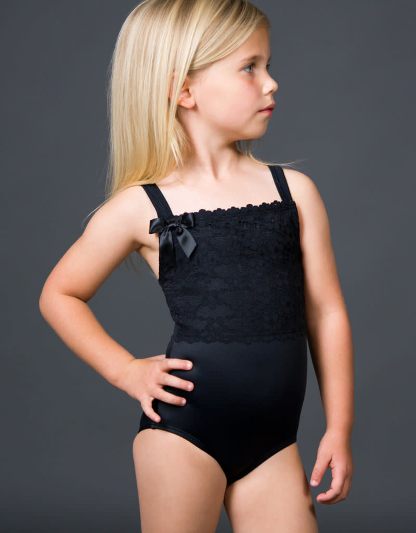 Suffolk Youth Thick Strap Leotard with Lace Overlay 2160C
