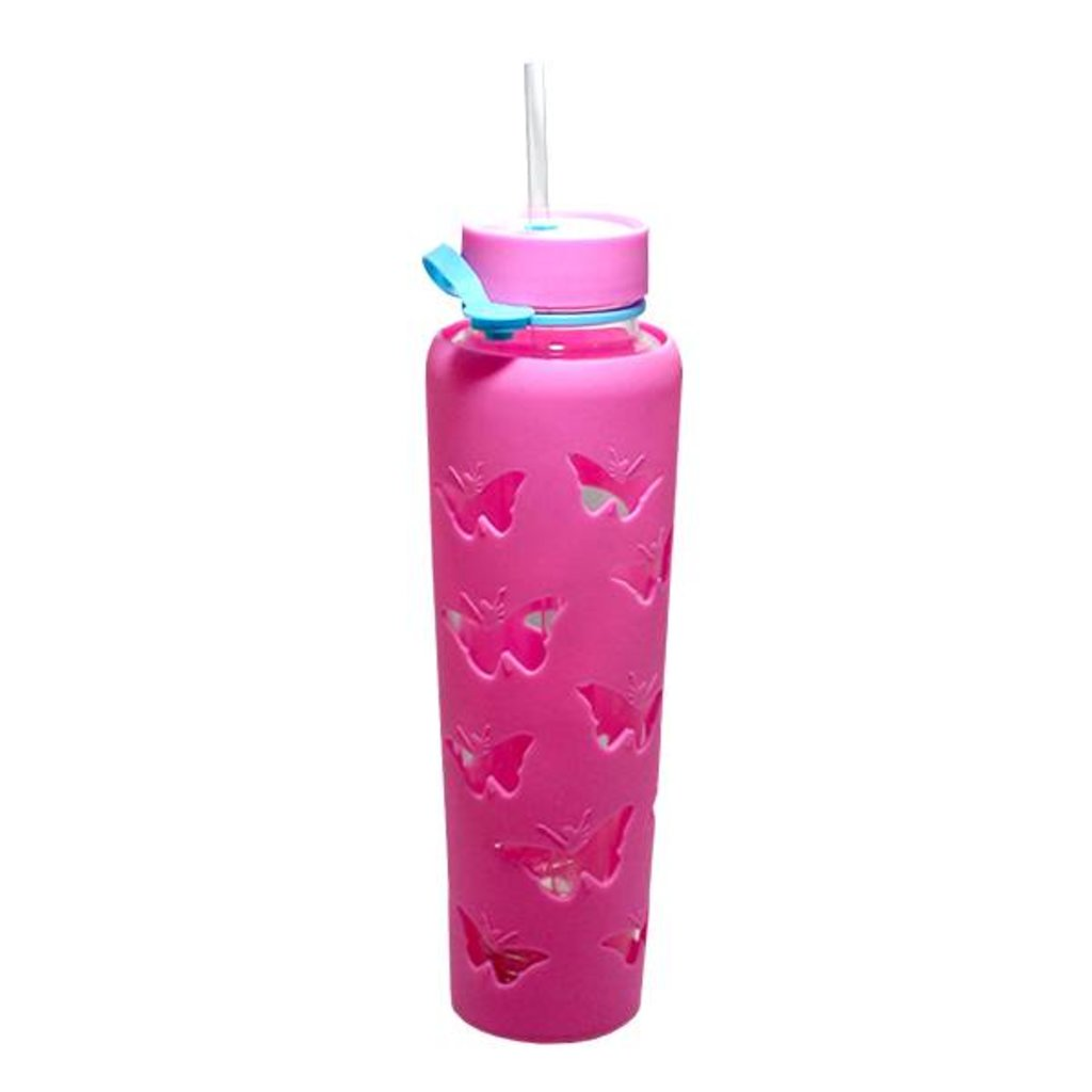 Trim Healthy Mama THM Butterfly Sipper Jar 32 oz. - Pink