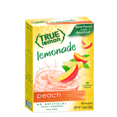 True Citrus True Lemon Drink Mix, Peach Lemonade - 10 pk