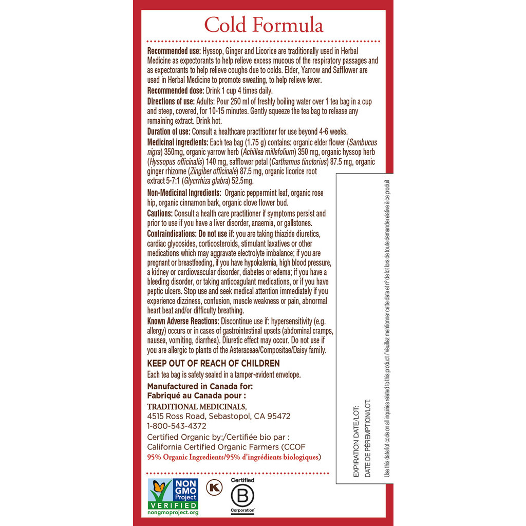 Traditional Medicinals Traditional Medicinals Tea - Cold Formula Tea (20 bags)