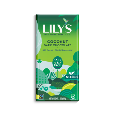 Lily's Sweets Lily'sBar - Dark Chocolate with Coconut - 55% Cocoa