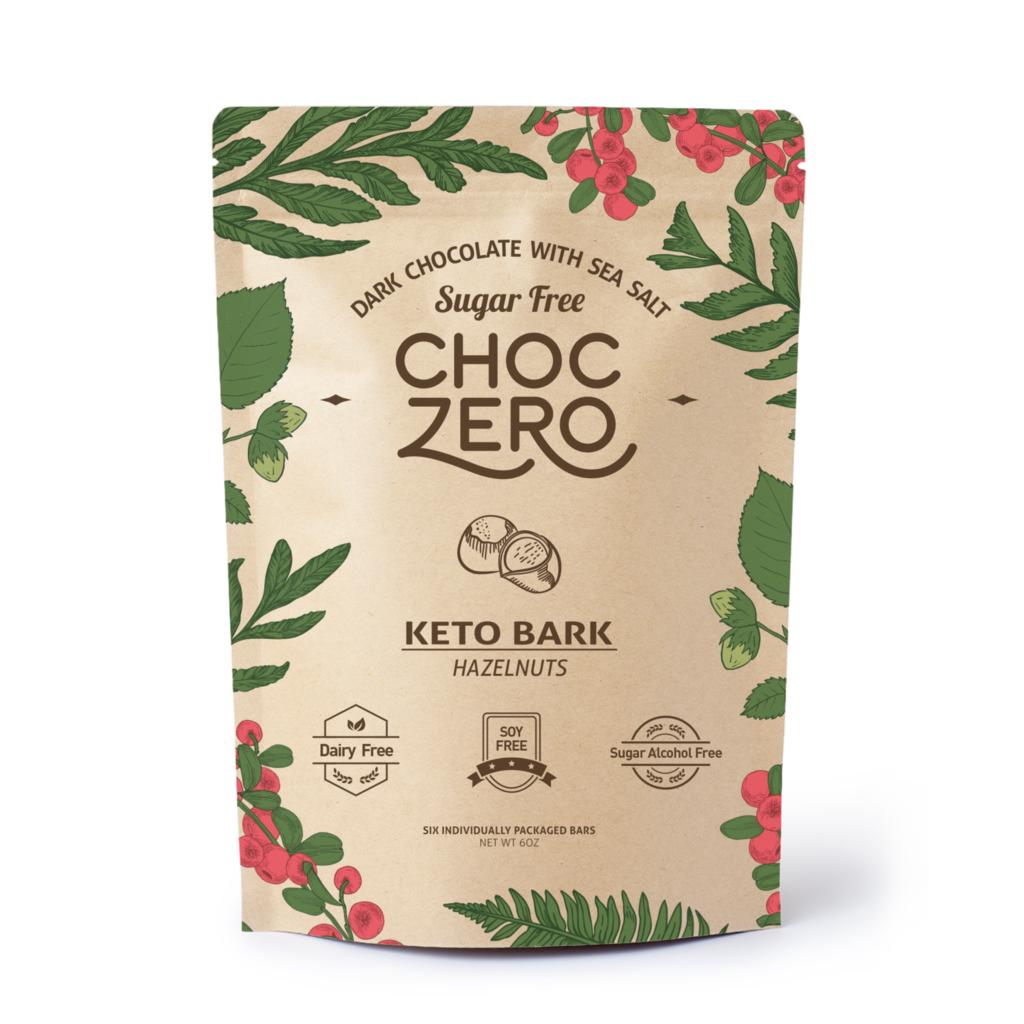 ChocZero Keto Bark, Dark Chocolate Sea Salt with Hazelnuts