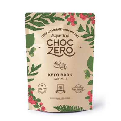 ChocZero Keto Bark, Dark Chocolate Sea Salt with Hazelnuts