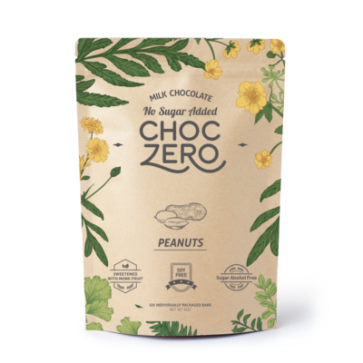 ChocZero Keto Bark, Milk Chocolate with Peanuts