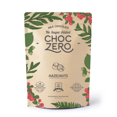 ChocZero Keto Bark, Milk Chocolate with Hazelnuts