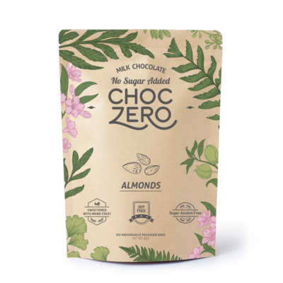 ChocZero Keto Bark, Milk Chocolate with Almonds