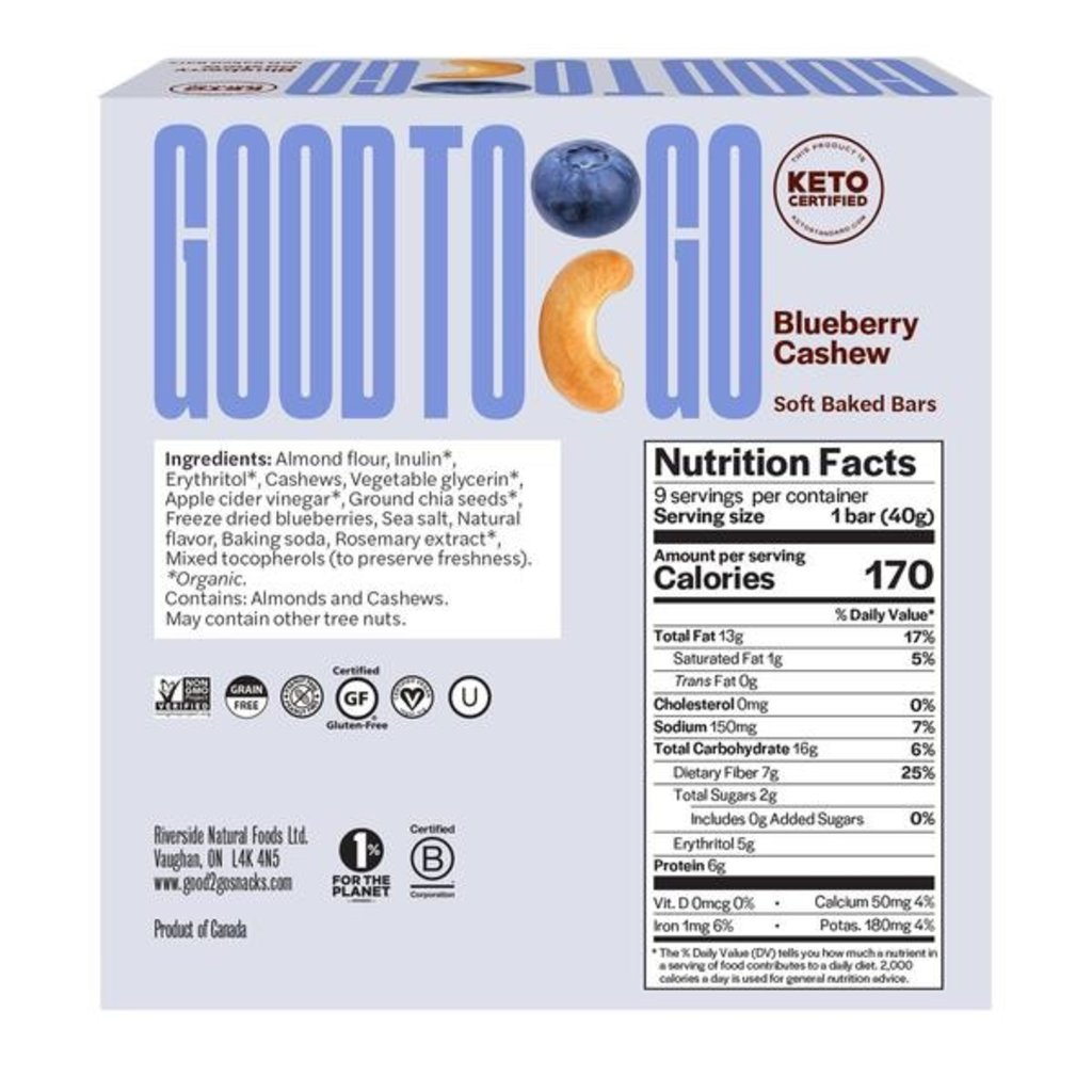 Good to Go Good to Go Keto Bar - Blueberry Cashew