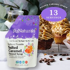 NuNaturals NuStevia Salted Caramel Syrup Pourable Pouch, 6.6 oz.