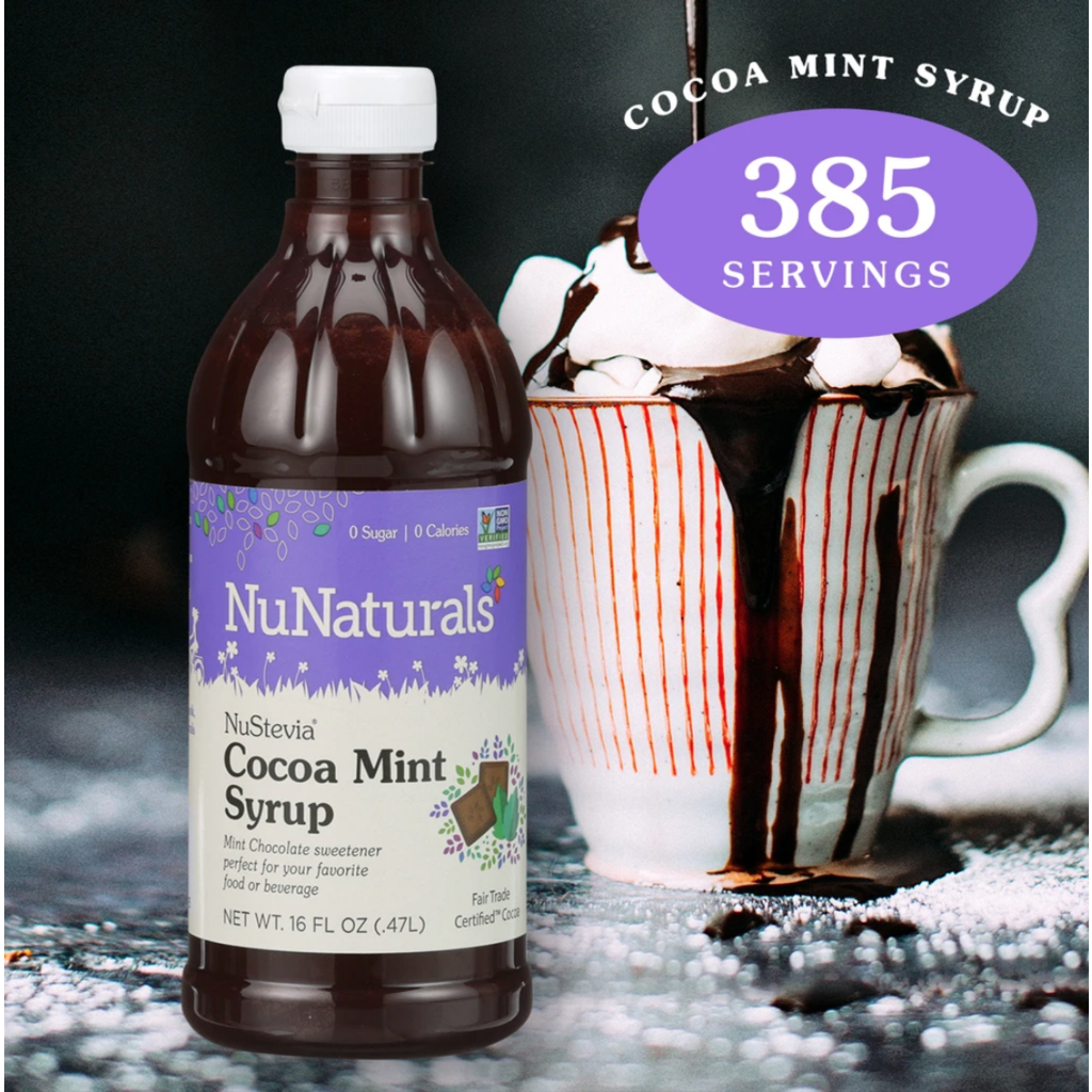 NuNaturals NuStevia Cocoa Mint Syrup Concentrated, 16 oz.