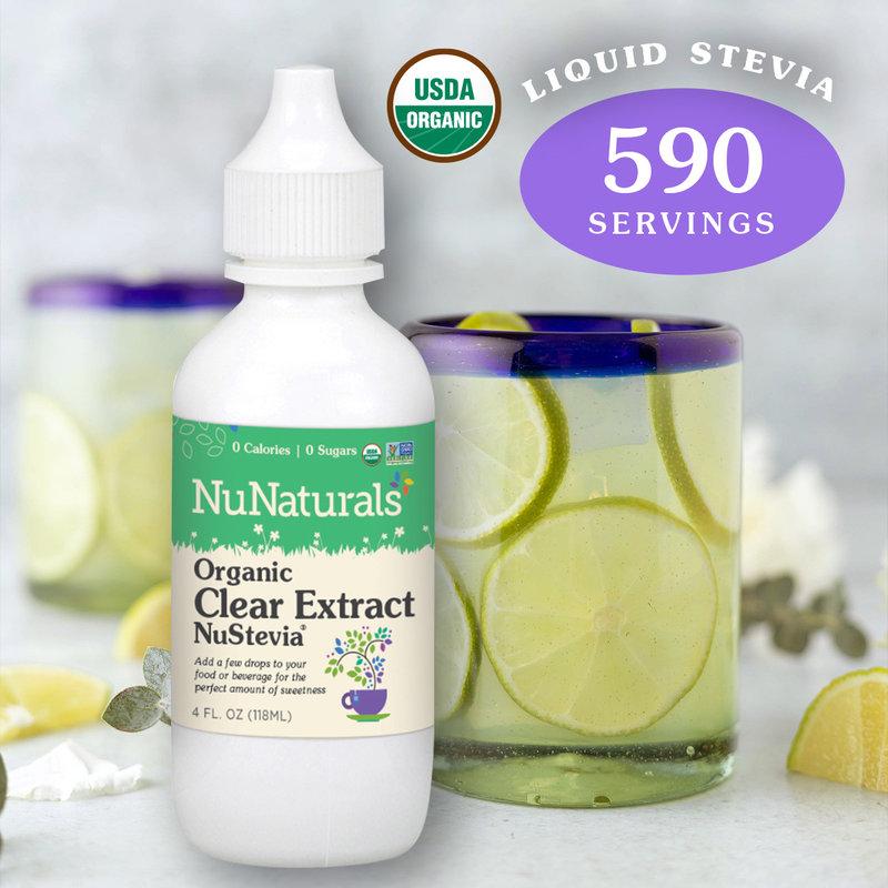 NuNaturals NuStevia Organic Clear Extract Stevia Natural Liquid Sweetener 4oz