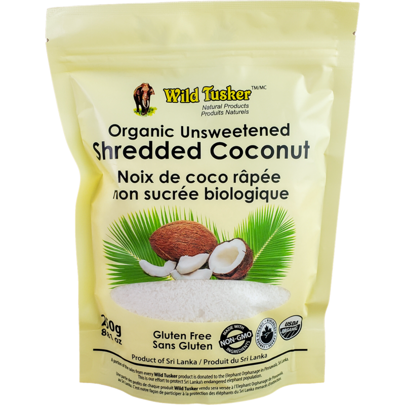 Wild Tusker Organic Unsweetened Shredded Coconut - 250g