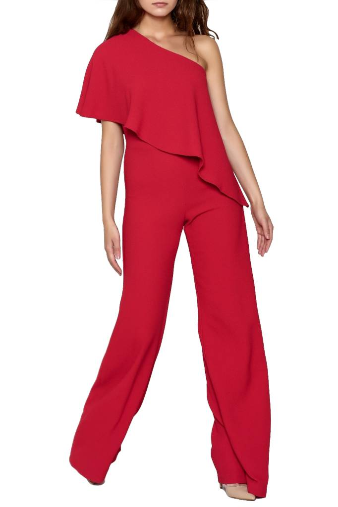 KARLIE - ONE SHOULDER CREPE JUMPSUIT