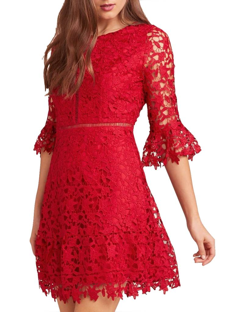 IN THE MOMENT SCARLET LACE DRESS