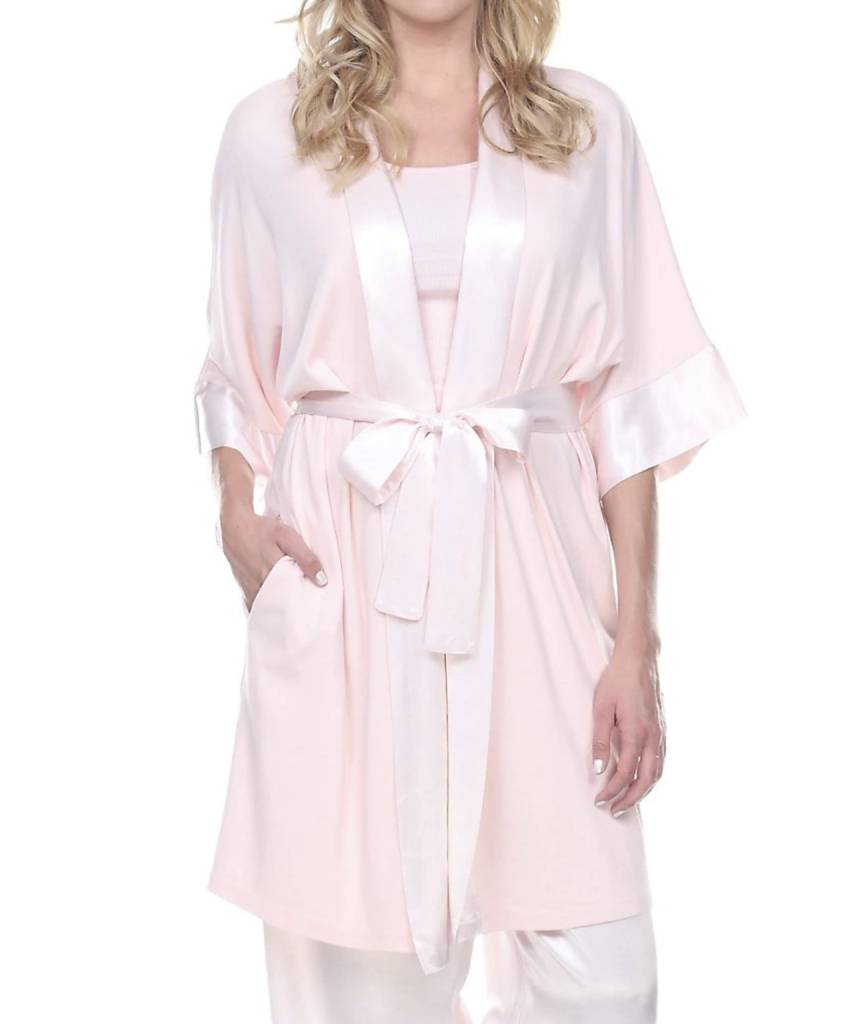 PJ HARLOW - SHALA SATIN TRIM ROBE WITH POCKETS