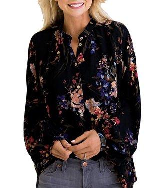 Karlie Floral Boho Button Top