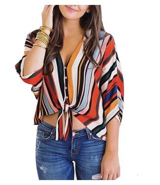 Karlie Stripe Button Tie Top