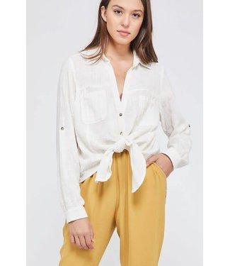 Wishlist Linen Button Down Tie Front Blouse