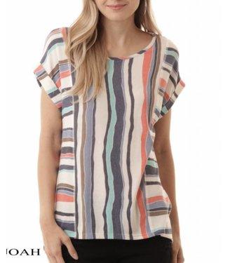 I Joah Striped Roll Sleeve Top