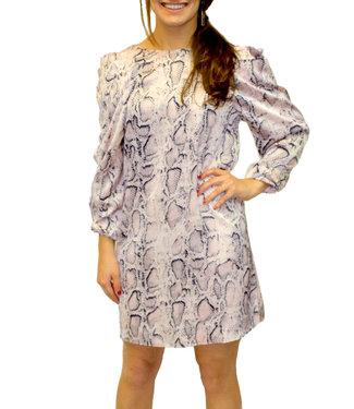 TCEC Snake Print Dress w/ Ruched Shoulder