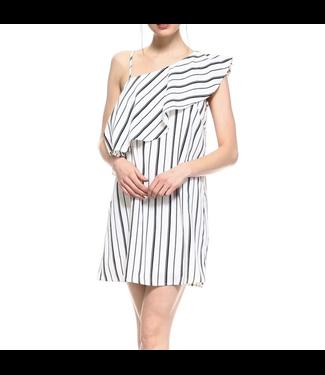 TCEC Striped One Shoulder Dress