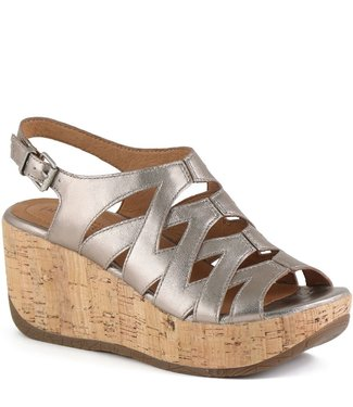 Bussola Iris Wedge Sandal - White Gold