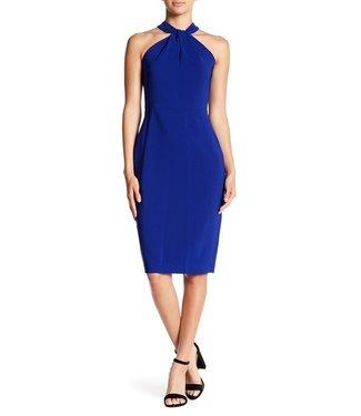 Taylor Twist Neck Crepe Halter Dress