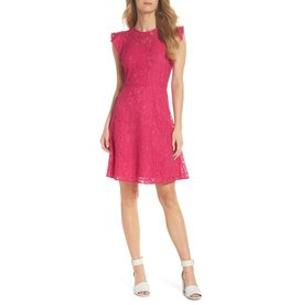 212bd2cf Eliza J Lace Fit & Flare Dress with Flutter Sleeve