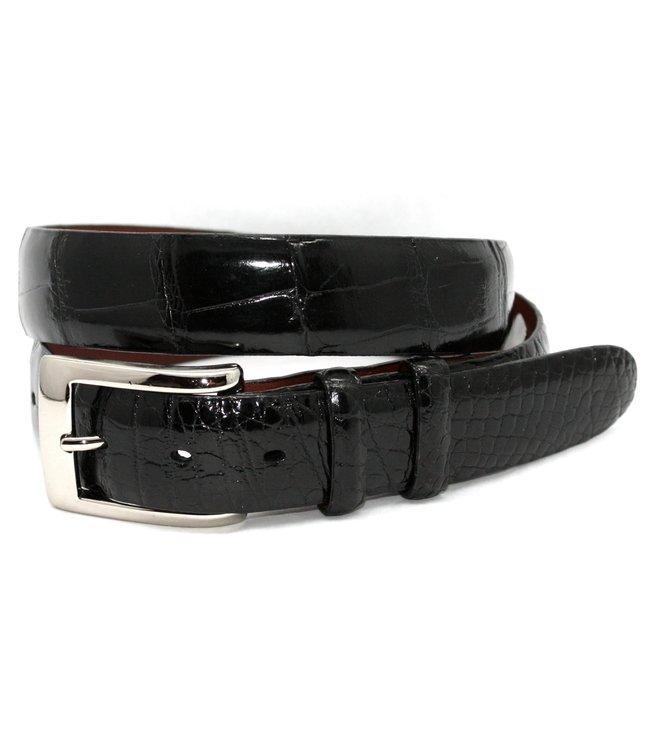 Torino Genuine American Alligator Belt - Black, Size 32