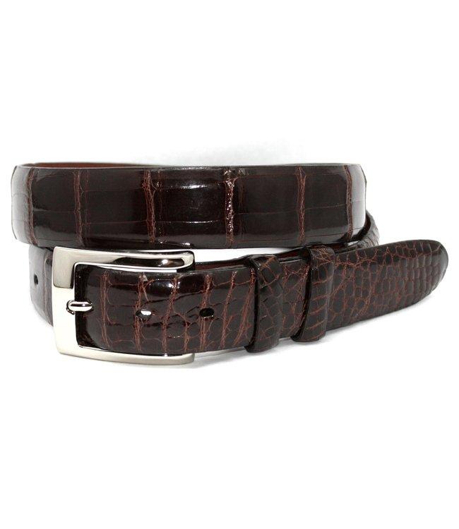 Torino Genuine American Alligator Belt - Brown, Size 38