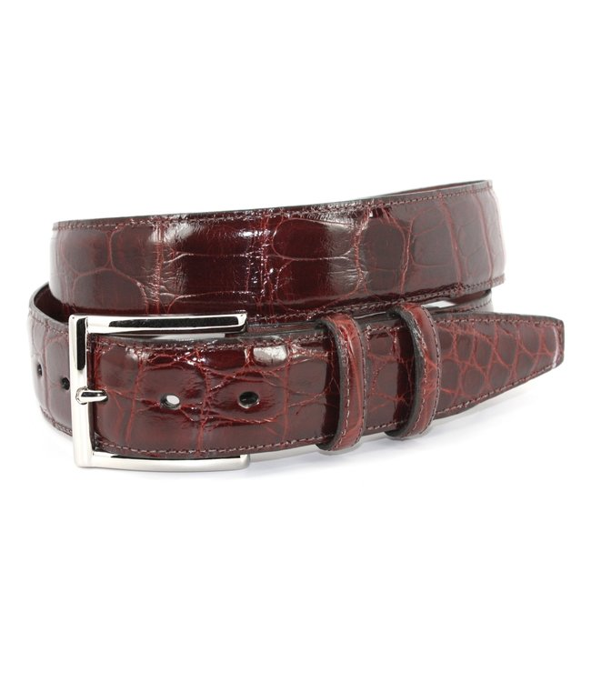 Torino Genuine American Alligator Belt - Cognac, Size 38