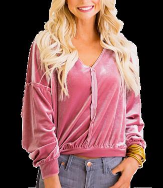 Karlie Velvet V-neck Top