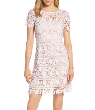 Eliza J Open Lace Dress with Cap Sleeve
