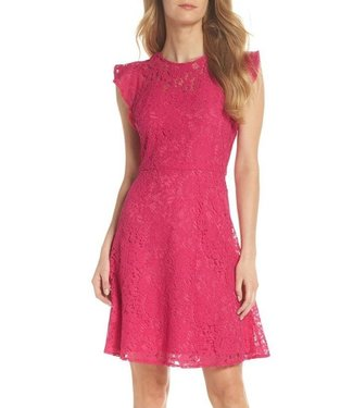 Eliza J Lace Fit & Flare Dress with Flutter Sleeve