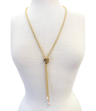 Virtue Virtue Mini Pearl Gold Lariat Necklace 8116MP