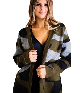 Karlie Camo Sweater Cardigan