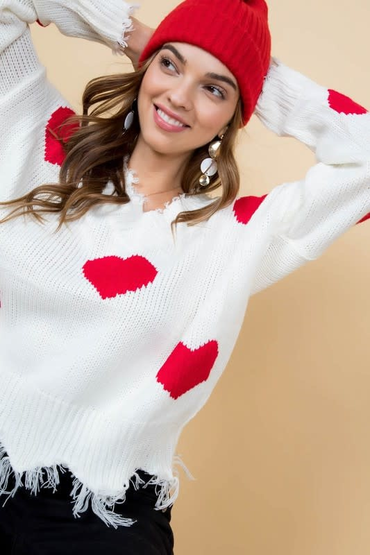 Main Strip Heart Sweater