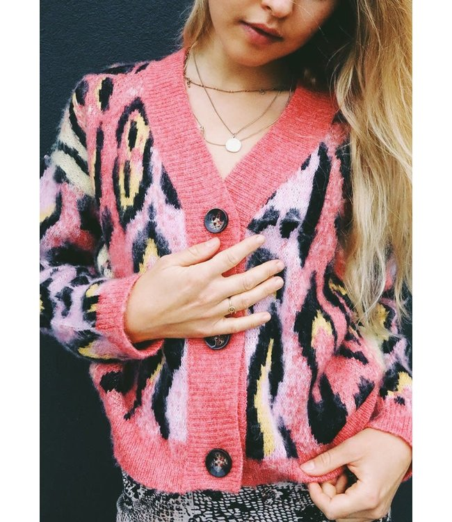 RD Style Pink Leopard Cardigan