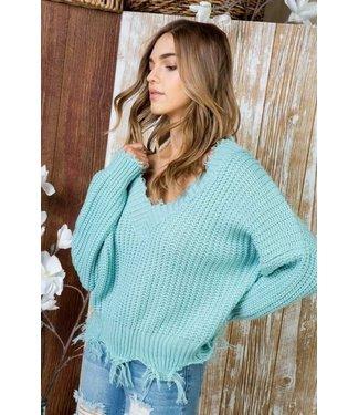 Main Strip Frayed Hem Sweater