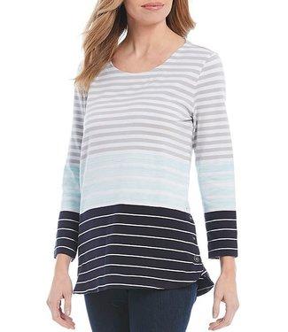Multiples Side Button Stripe Knit Top